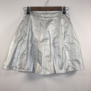 Ark & Co Skirts - Ark & Co Small Polyester Silver Faux Leather Skirt